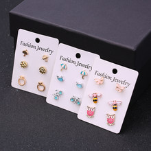 3 Pairs/set Cute Bee Owl Animals Umbrella Bicycle Geometry Stud Earrings Set for Women Mixed Design Trendy Earrings Jewelry(China)