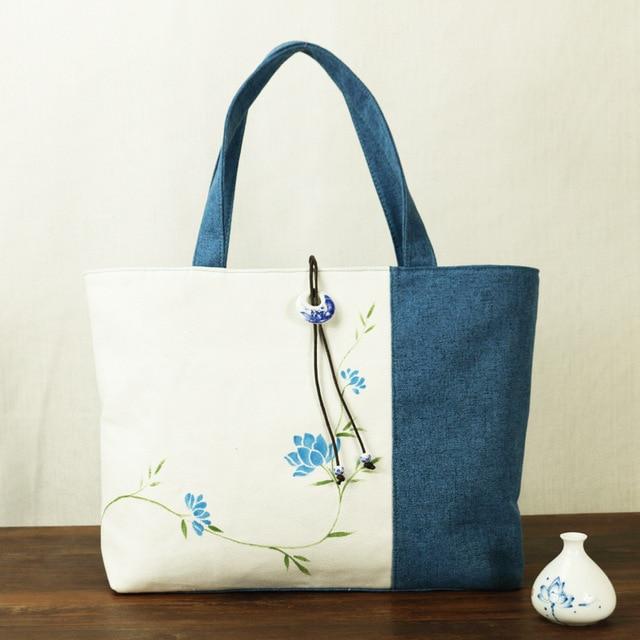 The New Blue And White Women Canvas Handbag China National Hand