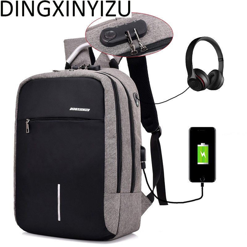 DINGXINYIZU USB Charge Anti-Theft Laptop Men Backpacks Waterproof Women School Bags Travel Daypack Unisex Rucksack Male Mochila