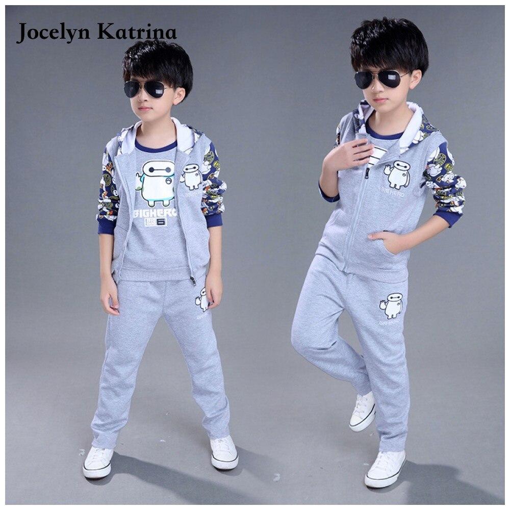 Jocelyn Katrina 3-14 years Boys Autumn clothing set 3pcs for big kids Hooded Jacket T-shirt pant clothes suit shayne f gilbert 90 days to launch