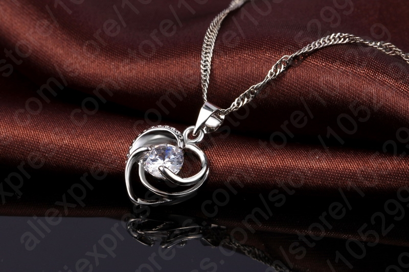 New Promotion Enagagement/Wedding Jewelry Set 100% 925 Sterling Silver Heart Pendant Necklace/Earrings Sets Wholesale