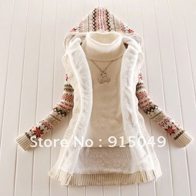 Women Knitwear Thick Winter Hooded Cardigan Coat Loose Sweater Button Lined Tops