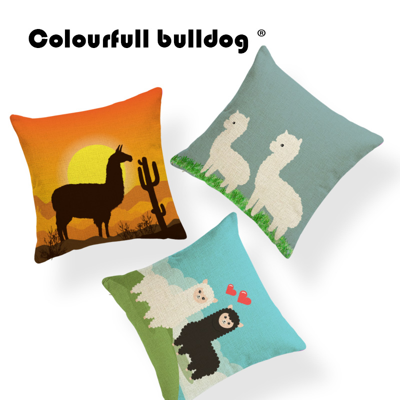 Lovely Beige Alpaca Throw Pillow Cover Green Grass Penguin Sea Lion Cushion Case 43*43cm Ice Narwhal Decorate Home Sofa Car Seat
