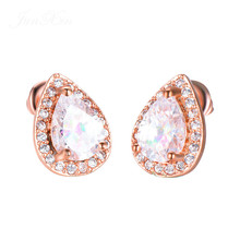 Silver Crystal Zircon Inlaid Drop Shaped Earrings