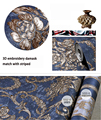 Luxury fashion high quality wallpaper 3d embroidery embossed wallpaper living room background wall