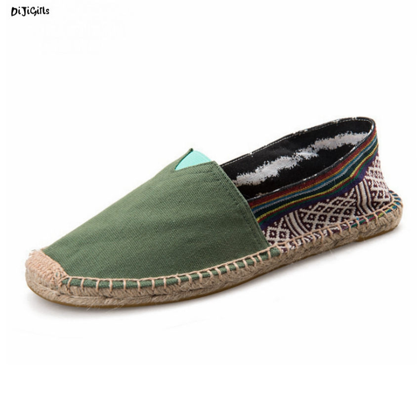 Women Fashion Hemp Flats Canvas Shoes Soft Comfortable Plus Size Casual Shoes Woman Espadrilles Loafers syt new women chinese traditional flower embroidered flats shoes casual comfortable soft canvas office career flats shoes g006