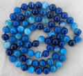 "New 2014 Fashion Long 35"" 8mm Striped Blue Agate Onyx jasper Jewelry Round Beads Necklace Natural Stone AAA BV52 Wholesale Price"