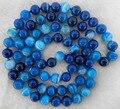 """Nuevo 2014 moda largo 35 """" 8 mm de rayas azul Agate Onyx jasper granos redondos de la joyería collar de piedra Natural AAA BV52 precio venta al por mayor"""