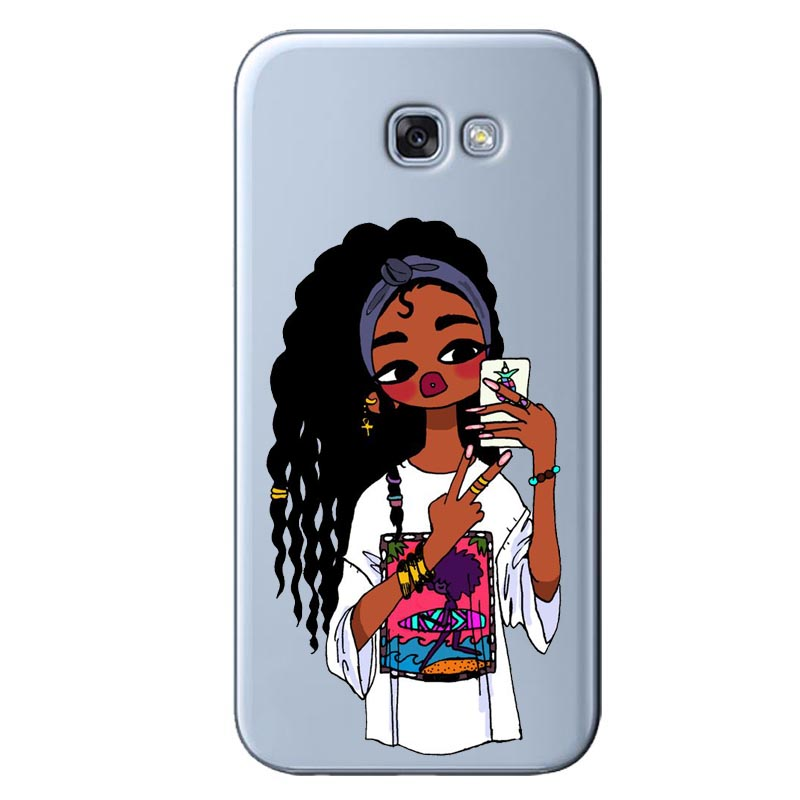 2bunz Melanin Poppin Aba Cases Fashion Black Girl Soft TPU Phone Case Cover For Samsung Galaxy A6 A7 A8 2018 PLUS J6 J8 2018 in Phone Pouches from Cellphones Telecommunications