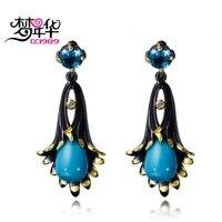 DC1989 Araña flor de campana Mar azul Cuelga Los pendientes Negro Oro Blanco Plateado Cubic Zirconia pendientes de Bronce para las mujeres ZE52799