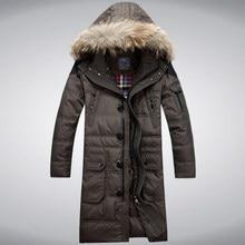 2015 Hot New Thicken Warm Men Down jacket Coat Hooded Raccoon Fur collar Parkas Cold Windproof Long Plus Size 3XXXL Leisure