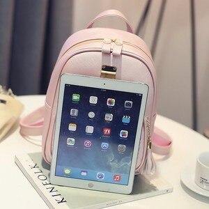 Image 5 - Женский кожаный рюкзак, школьные сумки для девочек подростков, Маленькая женская сумка с блестками и камнями в стиле преппи