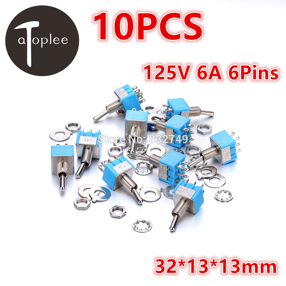 10PCS Mini MTS-202 AC DC 125V 6A 6-Pins DPDT ON-ON Toggle Touch Switch 32*13*13mm For Sppliances Panels Switch Tools 1 pc new red 9 pin on off on 3 position mini toggle switch ac 6a 125v 3a 250v ve521 p