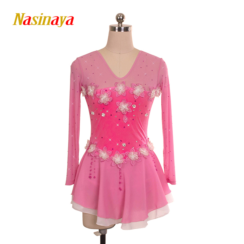 Customized Costume Ice Figure Skating Gymnastics Dress Competition Adult Child Girl Pink Gauze Skirt Performance Back V-shaped pink black ice skating jackets for kids hot sale figure skating suits competition skating suits for children