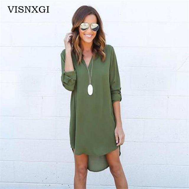 Visnxgi новые летние Платья для женщин 2018 модные женские туфли Повседневное свободные плюс Размеры элегантное платье с длинным рукавом Нерегулярные шифоновое платье vestidos