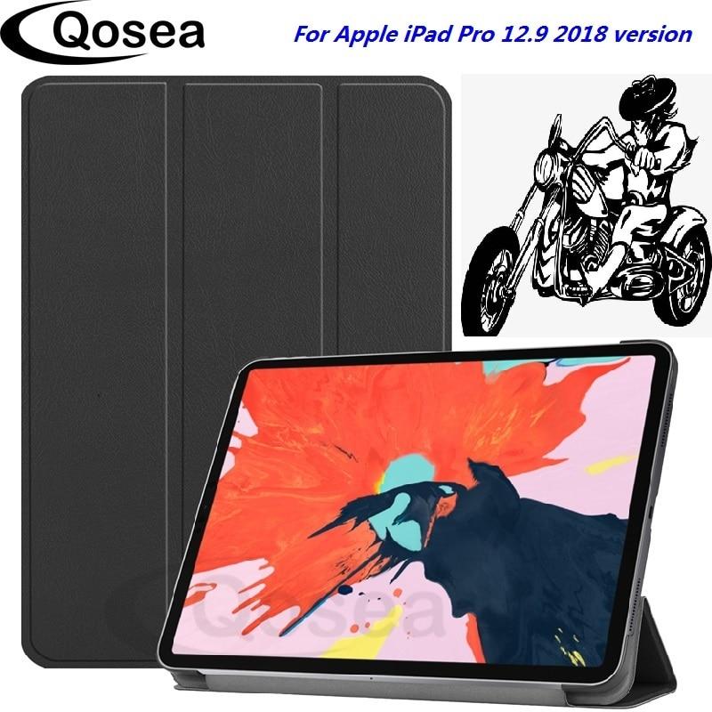 Qosea Nouvelle Pour Apple iPad Pro 12.9 2018 PU En Cuir Stand Smart Case Pour Apple iPad Pro 12.9 2018 Tablet PC Protecteur Couverture de Stand