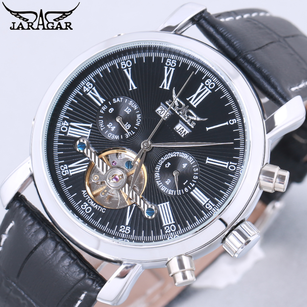 JARAGAR Luxury Brand Fashion Self-wind Mechanical Watches Mens Day Date Business Sport Wrist Watch 2018 New Leather Band Clock fashion leisure sport automatic mechanical wrist watches for mens clock luxury brand leather band skeleton dial steel mens watch