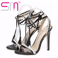 Fashion Rome Style Shoes Sexy Leggings Women's Sandals Patch Color Lace Up Shoes Woman Tassel High Heels Gladiator Sandals