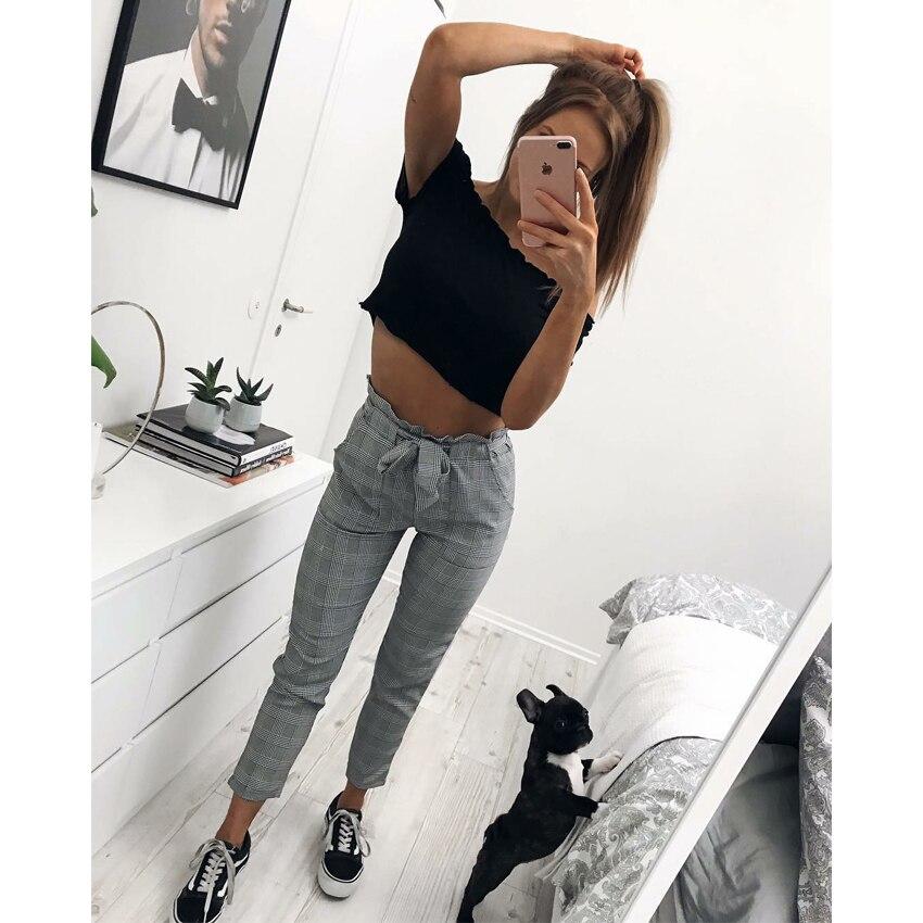 New 2018 Fashion spring Vintage gray grid casual female streetwear capris summer pants 1