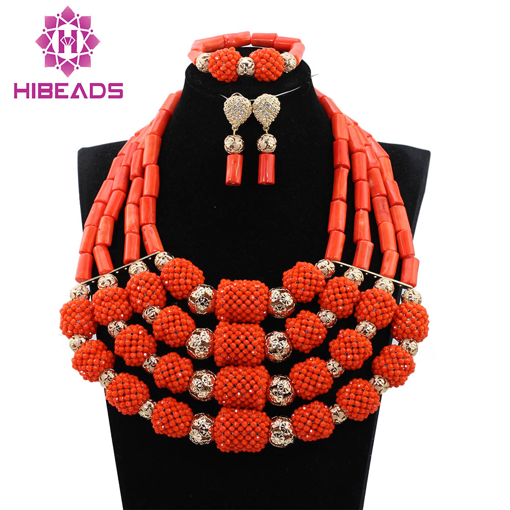 Luxury Real Coral Beaded Bib Chunky Jewelry Set Full African Big Jewelry Sets for Nigerian Wedding 3 Colors Free Shipping CNR765Luxury Real Coral Beaded Bib Chunky Jewelry Set Full African Big Jewelry Sets for Nigerian Wedding 3 Colors Free Shipping CNR765