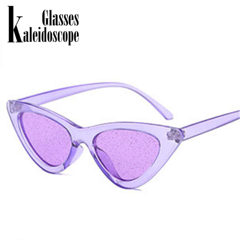 d2b346c7fc709 Kaleidoscope Glasses Small Cateye Sunglasses Women Vintage Sexy Cat Eye  Frame Tint Red Shiny Lens Sun
