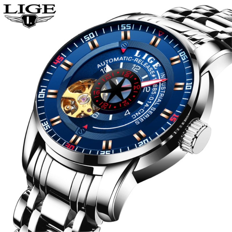 LIGE Luxury Brand Men's Fashion Business Automatic Watches Men Full Steel Waterproof Sport Watch Black Clock Relogio Masculino ik brand fashion men watches silver full stainless steel automatic self wind watch men multi function clock relogio masculino