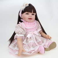 Silicone Reborn Baby Doll Girls Toys 22 Inch Cute Girl Doll For Christmas Gift Lifelike Reborn Kids Toy Play Doll