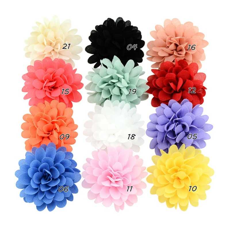 12 PCS Chiffon Flower Baby Girls Hair Clip Baby Girls Toddler Barrette Accessory