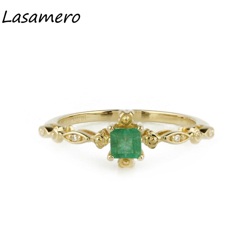 LASAMERO Princess Cut 0.27CT Natural Emerald Gemstone Diamond Accents 18k Yellow Gold Vintage Wedding Engagement Ring