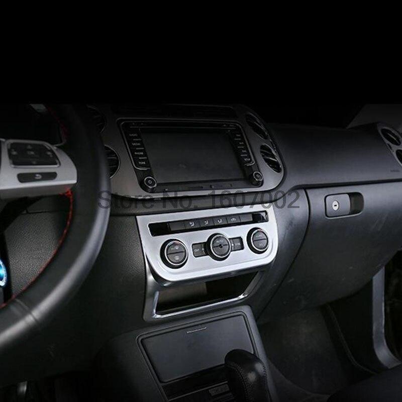 For Volkswagen VW Tiguan 2012 2013 2014 2015 Matte Chrome Interior Car Center Consoles Control Button Switch Molding Trim Cover