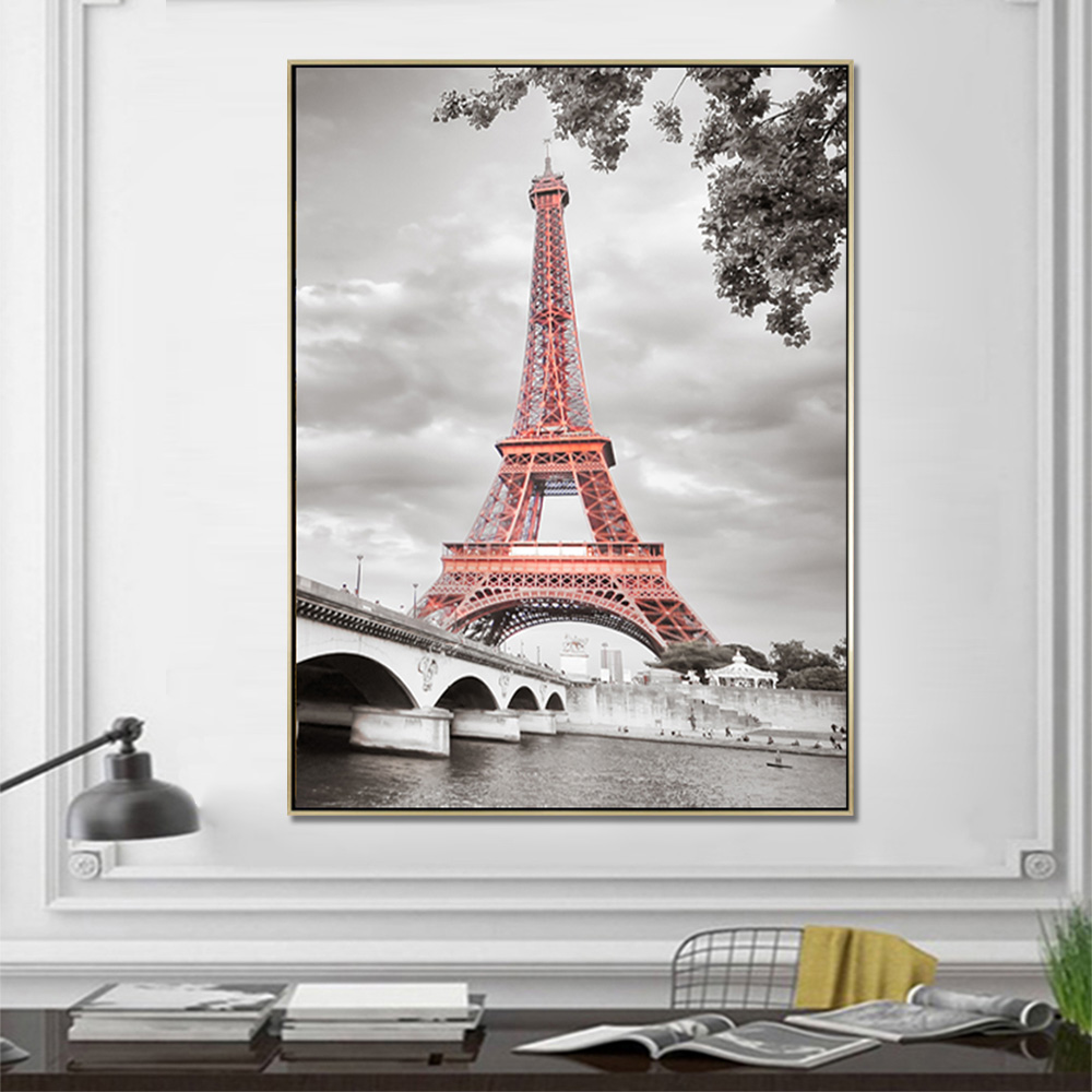 Unframed Canvas Prints Red EiffelTower Black And White Architecture Prints Wall Picture For Living Room Wall Art Decoration