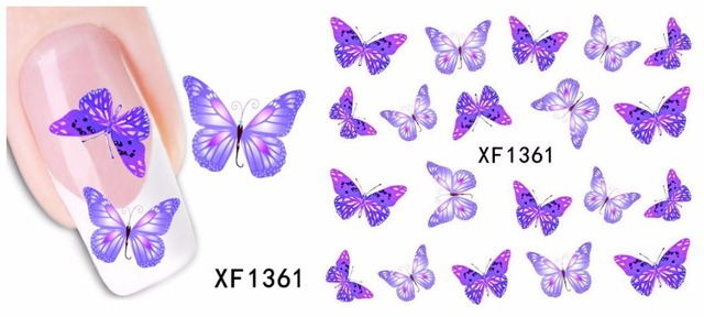 Purple Bow Stamping Nail Art Stickers