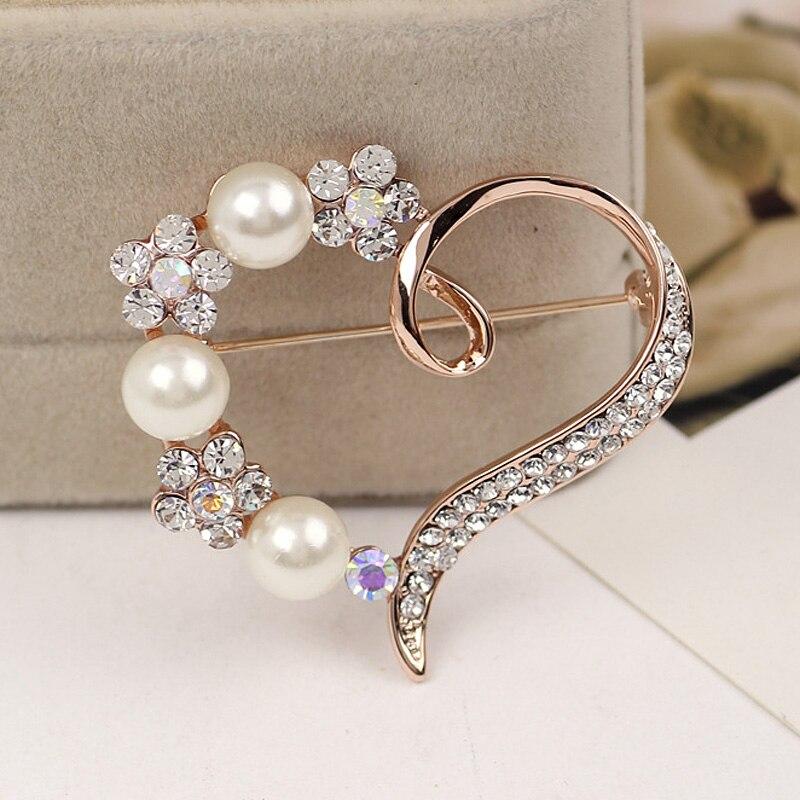 Hot Women Gorgeous Heart Shape Shiny  Rhinestone Brooch Pin @M23