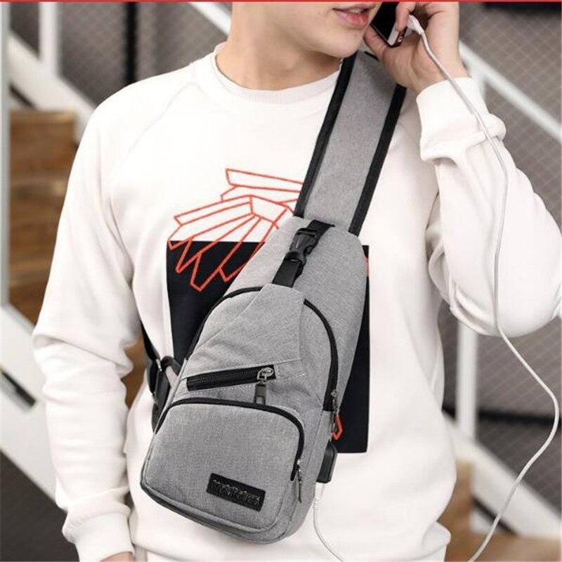 Masculino Bolsa de Ombro Sacos Crossbody Homens de Carregamento USB Pacote Anti Roubo Peito Escola Mensageiros Saco Curta Viagem Única Cinta de Volta saco