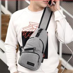 9e650425a Masculino Bolsa de Ombro Sacos Crossbody Homens de Carregamento USB Pacote  Anti Roubo Peito Escola Mensageiros