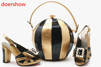 doershow Beautiful African style gold shoes and matching bag, Ladies Italian shoes and bags with peach fashion for wedding!MQ1 8