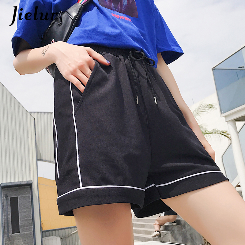 Jielur Fashion Shorts Harajuku Vintage Korean Elastic-Waist Summer Casual Women Pocket