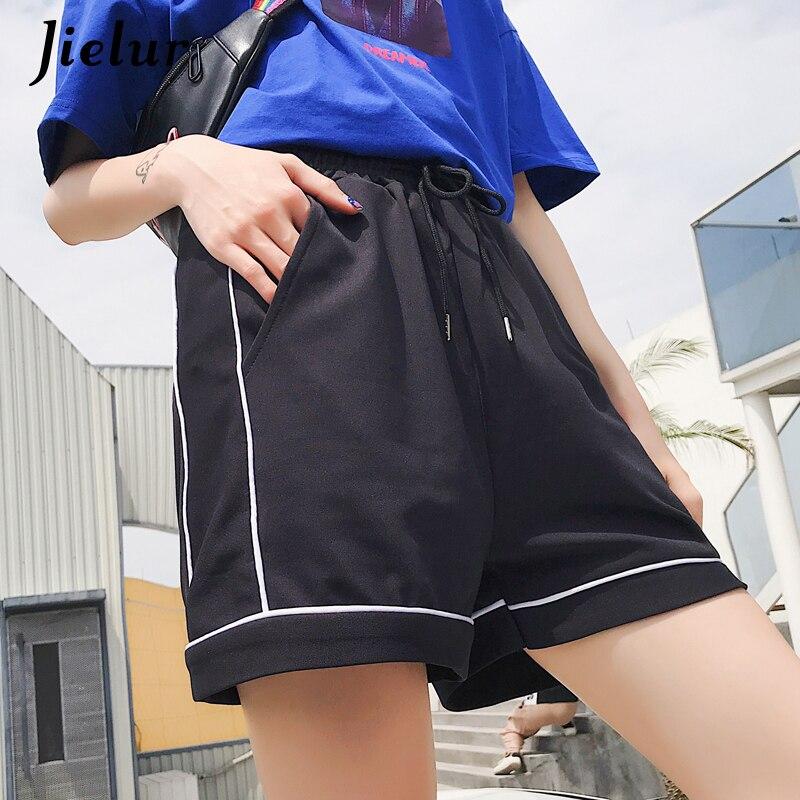 Jielur   Shorts   Women Black Pocket Elastic Waist Korean   Short   Loose Casual Vintage Fashion   Shorts   Summer Harajuku Cool   Short   Mujer
