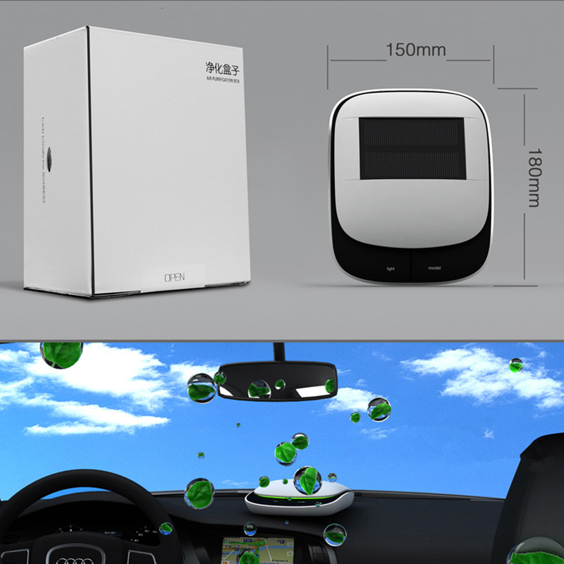 Solar car air purifier in addition to aromatherapy with negative ion oxygen formaldehyde in the car