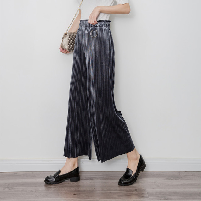 H.SA 2017 Spring Summer Pleated Velet Wide Leg Pants Women Vintage Trousers New Clothing Fashion Slim Pleated Wide Pants