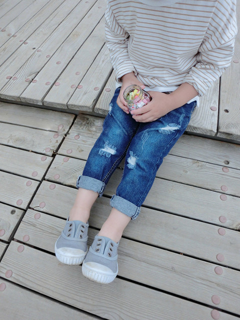 kids boys girls ripped jeans baby holes denim blue pants toddler children autumn spring trousers clothes cowboys jersey 3-7T