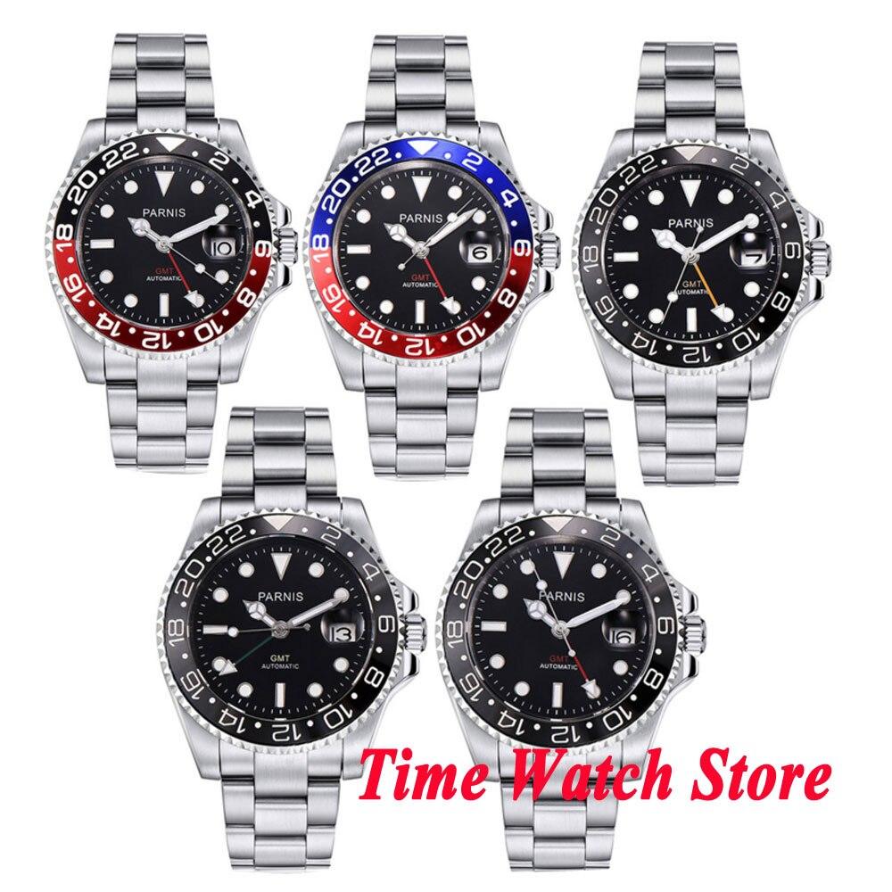 여러 선택 40mm parnis 남자 시계 gmt 블랙 다이얼 빛나는 사파이어 자동 무브먼트 손목 시계 남자 team338-에서기계식 시계부터 시계 의  그룹 1