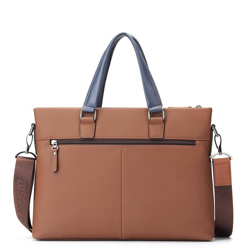 BISON DENIM fashion men bag genuine leather handbag shoulder bags business men briefcase cowhide laptop bag