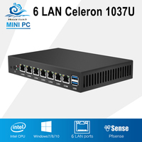 Mini PC Dual Core 6 Ethernet LAN Router Firewall Intel Celeron 1037U PfSense Fanless Desktop Computer