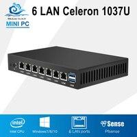 Mini PC Dual Core 6 Ethernet LAN Router Firewall Intel Celeron 1037U PfSense Fanless Desktop Computer