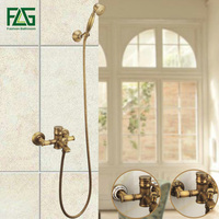 FLG Bamboo Shower Faucet Mixer Tap Antique Brass Shower Set With Hand Shower Bathtub Faucets Mixer Taps HS128 55A 02