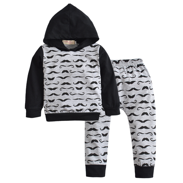 8259aa293c3a5 2018 New Fashion Baby Boy Girl Clothes Long Pants Cartoon Beard Camo Hoodie  Tops+pants Newborn 2pcs Outfit Infant Clothing Set