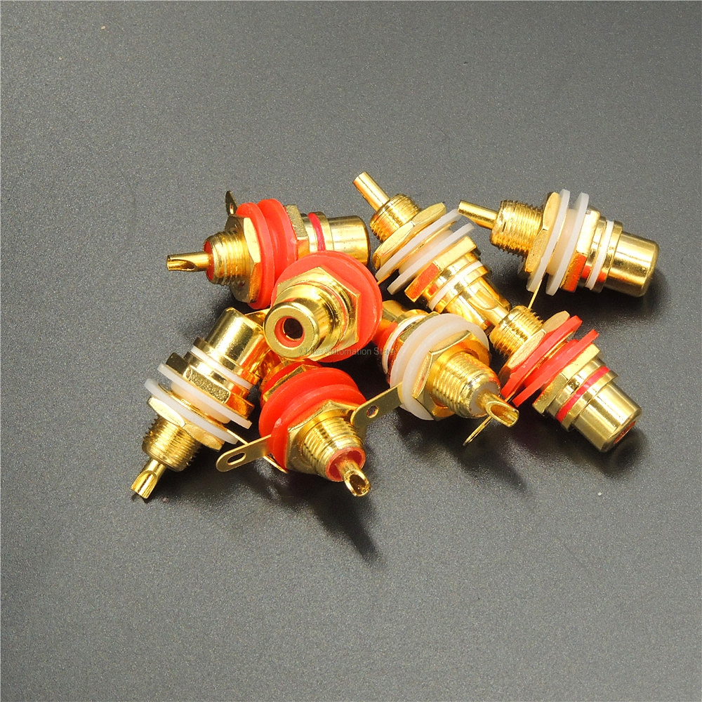 20pcs/lot Panel Mount Gold Plated RCA Female plug Jack Audio Socket Amplifier Chassis Phono Connector with nut solder cup 1pair gold plated rca jack connector panel mount chassis audio socket plug bulkhead with nut solder cup wholesale 2pcs