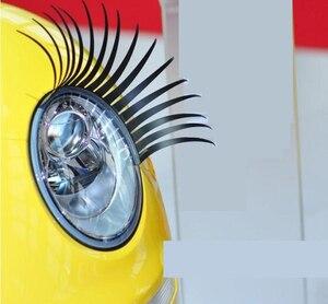 Image 2 - 1 Pair Creative 3D Charming Black False Eyelashes Cute Fake Eye Lash Sticker Car Headlight Decoration Funny Decal For Beetle