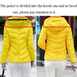 Image 5 - 2019 kurtka zimowa kobiety Plus Size kobiet parki zagęścić odzież wierzchnia jednolite kurtki z kapturem krótkie kobiece szczupłe bawełniane ocieplane proste topy